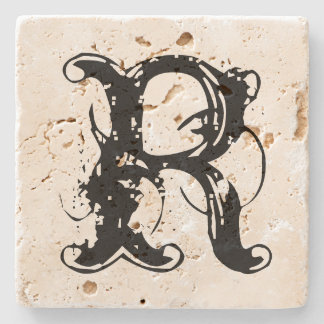 Vintage custom monogram travertine stone coaster