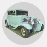 Vintage Customised Car Round Sticker