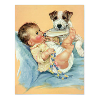 Vintage Cute Baby Bottle Puppy Dog, Baby Shower 11 Cm X 14 Cm Invitation Card