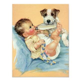 "Vintage Cute Baby Bottle Puppy Dog, Baby Shower 4.25"" X 5.5"" Invitation Card"
