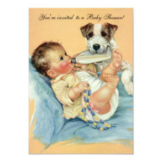 "Vintage Cute Baby Bottle Puppy Dog, Baby Shower 5"" X 7"" Invitation Card"