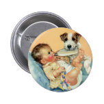 Vintage Cute Baby Boy with Bottle and Puppy Dog 6 Cm Round Badge