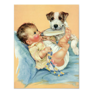 """Vintage Cute Baby Boy with Bottle and Puppy Dog 4.25"""" X 5.5"""" Invitation Card"""