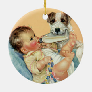Vintage Cute Baby Boy with Bottle and Puppy Dog Round Ceramic Decoration