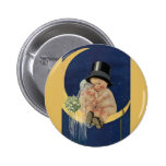 Vintage Cute Baby Bride and Groom on Crescent Moon 6 Cm Round Badge