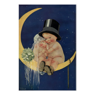 Vintage Cute Baby Bride and Groom on Crescent Moon Poster