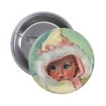 Vintage Cute Baby Girl Wearing a Faux Fur Coat 6 Cm Round Badge