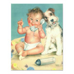 Vintage Cute Baby Phone Puppy Dog Baby Shower 11 Cm X 14 Cm Invitation Card