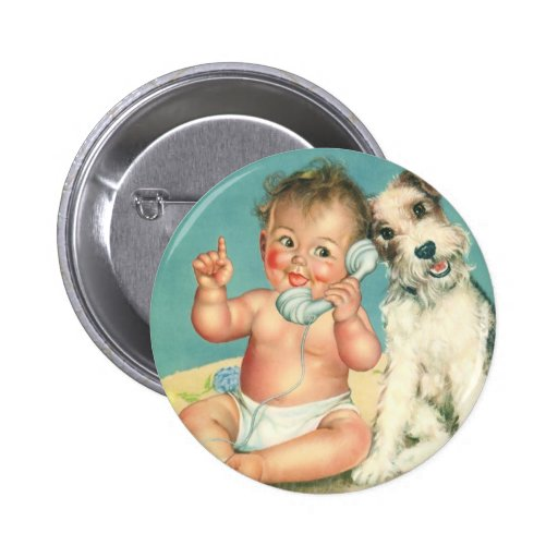 Vintage Cute Baby Talking on Phone Puppy Dog 6 Cm Round Badge