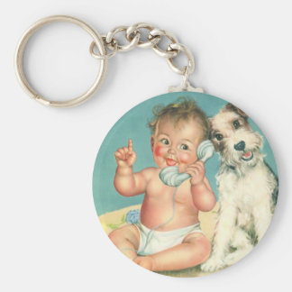 Vintage Cute Baby Talking on Phone Puppy Dog Basic Round Button Key Ring