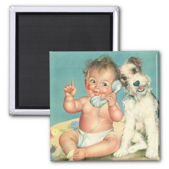 Vintage Cute Baby Talking on Phone Puppy Dog Magnet
