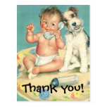 Vintage Cute Baby Talking on Phone Puppy Dog Post Card