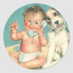 Vintage Cute Baby Talking on Phone Puppy Dog Round Sticker