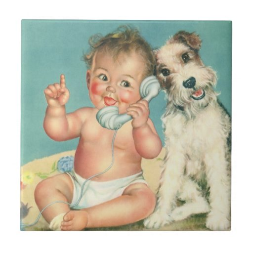 Vintage Cute Baby Talking on Phone Puppy Dog Tiles