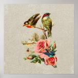 Vintage Cute Birds & Roses Landscape Painting