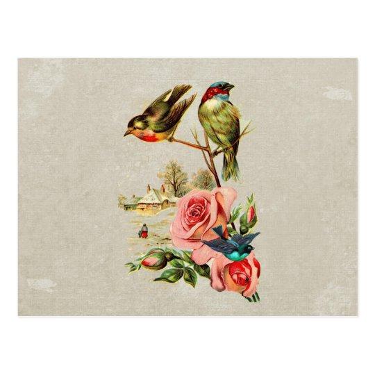 Vintage Cute Birds & Roses Landscape Painting Postcard