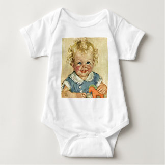 Vintage Cute Blonde Scandinavian Baby Boy or Girl Baby Bodysuit