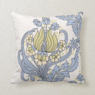 Vintage Cute Blue Floral Wallpaper Cushion