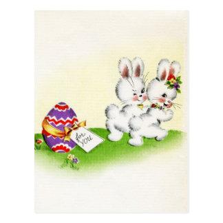 Vintage Cute Bunny Easter Postcard