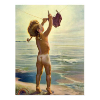 Vintage Cute Child Hanging Laundry at the Beach Postcard