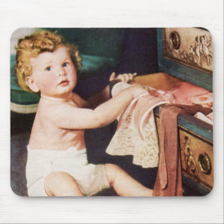 Vintage Cute Child, Toddler Boy Girl Making a Mess Mouse Pad
