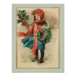 Vintage Cute Christmas Girl with Holly Wreaths Poster
