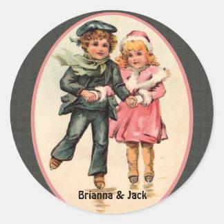 Vintage Cute Couple on Iceskates Sticker