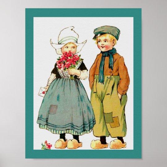 Vintage Cute Dutch Boy & Girl w/ Roses