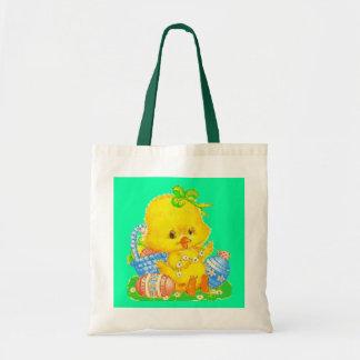 Vintage Cute Easter Duckling and Easter Egg Basket Tote Bag