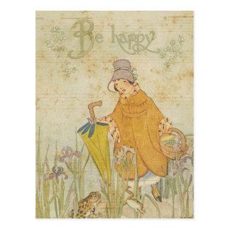 Vintage Cute Girl Children Stories Frog Pond Iris Postcard