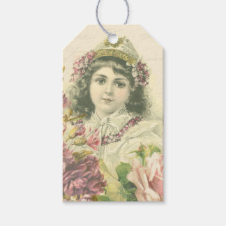 Vintage cute girl gift tags w/ beautiful flowers