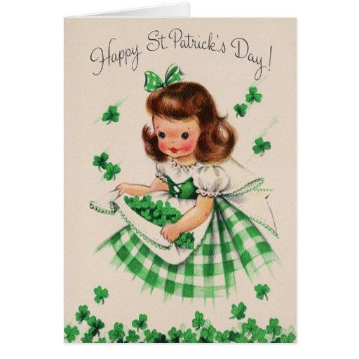 Vintage Cute Girl Shamrock St Patrick's Day Card
