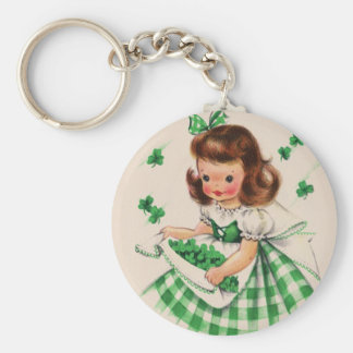 Vintage Cute Girl Shamrock St Patrick's Day Card Basic Round Button Key Ring
