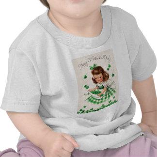Vintage Cute Girl Shamrock St Patrick's Day Card T-shirts