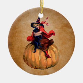 vintage cute halloween witch and cat christmas ornament