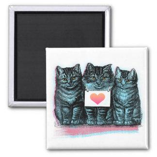 Vintage Cute Heart Kittens Magnet