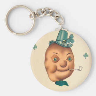 Vintage Cute Irish Potato St Patrick's Day Card Basic Round Button Key Ring