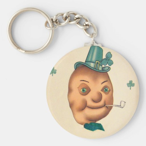 Vintage Cute Irish Potato St Patrick's Day Card Keychain