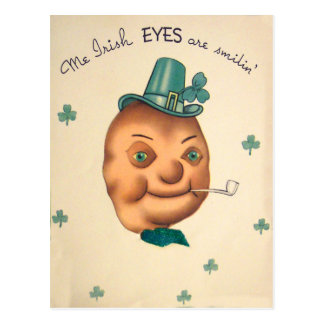 Vintage Cute Irish Potato St Patrick's Day Card Postcard