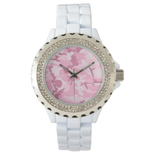 Vintage Cute Pink Camouflage Pattern Watch