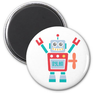 Vintage Cute Robot Toy For Kids 6 Cm Round Magnet