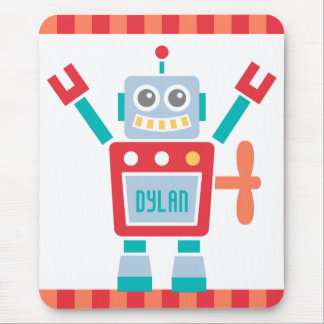 Vintage Cute Robot Toy For Kids Mouse Pad