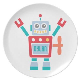 Vintage Cute Robot Toy For Kids Plate