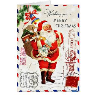 Vintage Cute Santa Claus Christmas Card