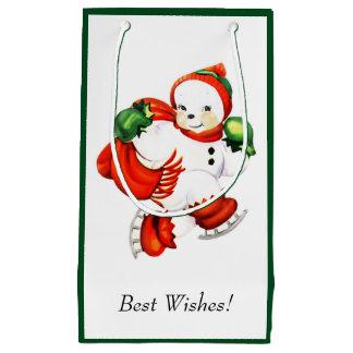 Vintage Cute Skating Snowman Small Gift Bag