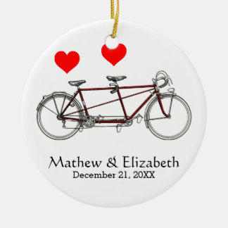 Vintage Cute Tandem Bicycle Custom Wedding Christmas Ornament