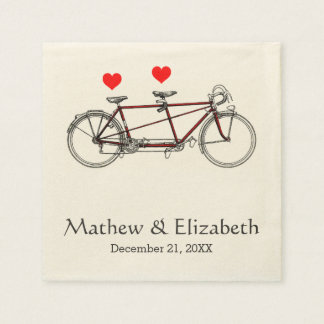 Vintage Cute Tandem Bicycle Custom Wedding Paper Napkin