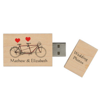 Vintage Cute Tandem Bicycle Custom Wedding Photos Wood USB 2.0 Flash Drive