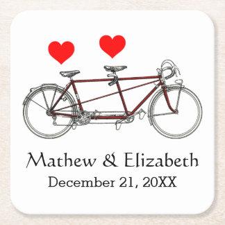 Vintage Cute Tandem Bicycle Custom Wedding Square Paper Coaster