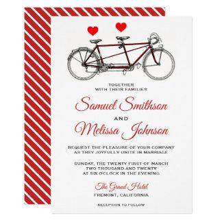 Vintage Cute Tandem Bicycle Wedding Invitation